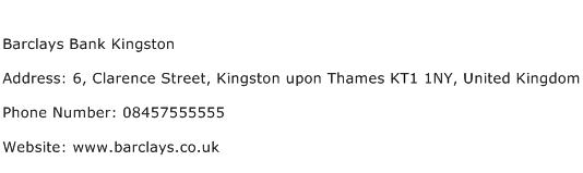 Barclays Bank Kingston Address Contact Number
