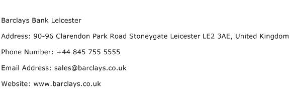Barclays Bank Leicester Address Contact Number