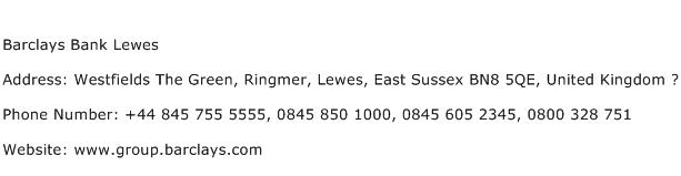 Barclays Bank Lewes Address Contact Number