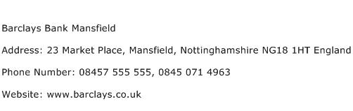 Barclays Bank Mansfield Address Contact Number