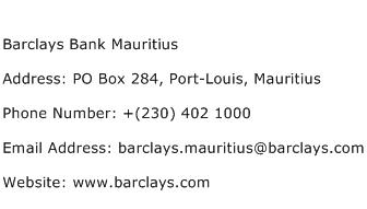 Barclays Bank Mauritius Address Contact Number