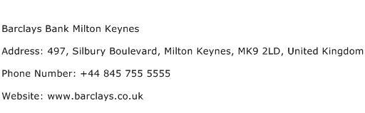 Barclays Bank Milton Keynes Address Contact Number