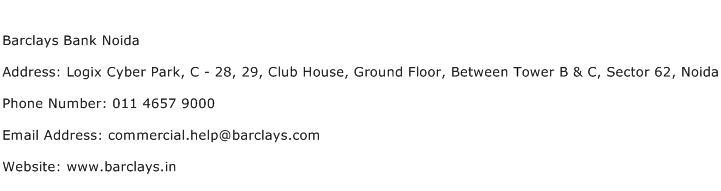 Barclays Bank Noida Address Contact Number