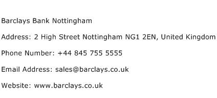 Barclays Bank Nottingham Address Contact Number