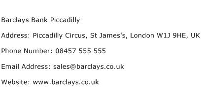Barclays Bank Piccadilly Address Contact Number
