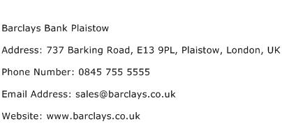 Barclays Bank Plaistow Address Contact Number