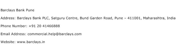 Barclays Bank Pune Address Contact Number