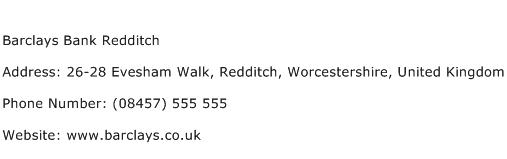 Barclays Bank Redditch Address Contact Number