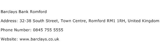 Barclays Bank Romford Address Contact Number