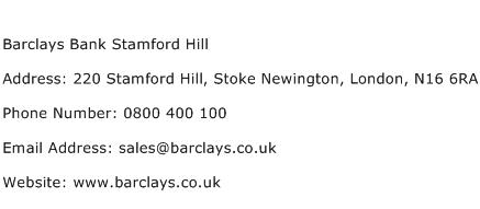 Barclays Bank Stamford Hill Address Contact Number