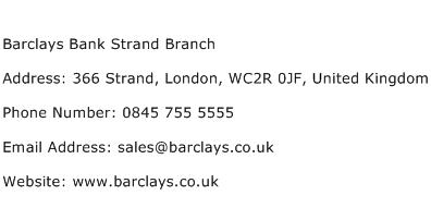 Barclays Bank Strand Branch Address Contact Number