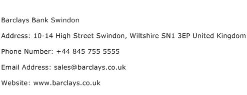 Barclays Bank Swindon Address Contact Number