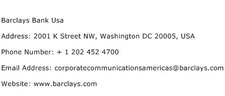 Barclays Bank Usa Address Contact Number