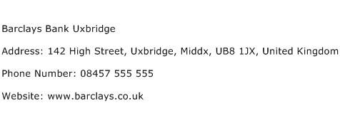 Barclays Bank Uxbridge Address Contact Number