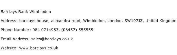 Barclays Bank Wimbledon Address Contact Number