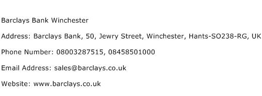 Barclays Bank Winchester Address Contact Number