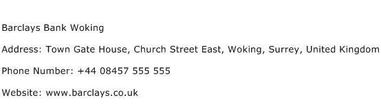 Barclays Bank Woking Address Contact Number