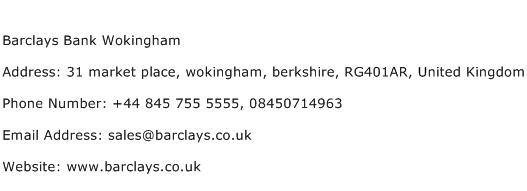 Barclays Bank Wokingham Address Contact Number