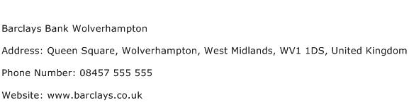 Barclays Bank Wolverhampton Address Contact Number