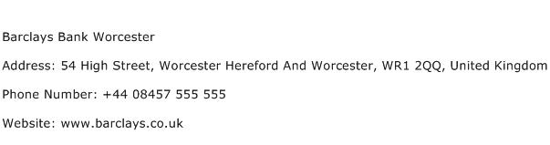 Barclays Bank Worcester Address Contact Number
