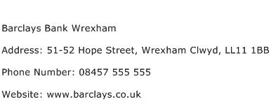 Barclays Bank Wrexham Address Contact Number