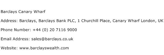 Barclays Canary Wharf Address Contact Number