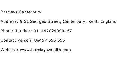 Barclays Canterbury Address Contact Number