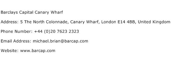 Barclays Capital Canary Wharf Address Contact Number