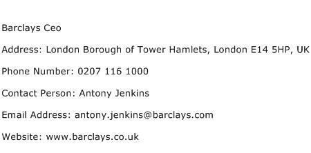 Barclays Ceo Address Contact Number