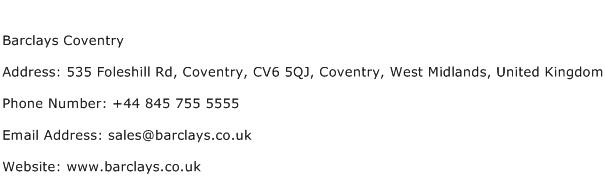 Barclays Coventry Address Contact Number