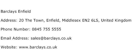 Barclays Enfield Address Contact Number