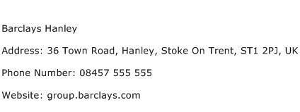 Barclays Hanley Address Contact Number