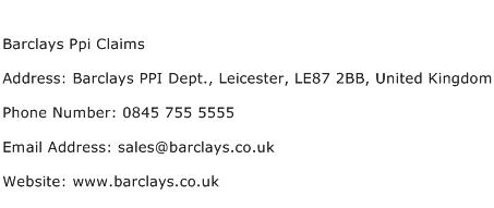 Barclays Ppi Claims Address Contact Number