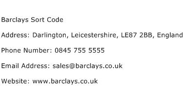 Barclays Sort Code Address Contact Number