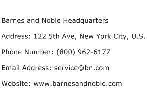 Barnes and Noble Headquarters Address Contact Number