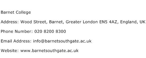 Barnet College Address Contact Number