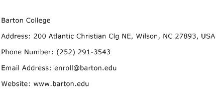 Barton College Address Contact Number