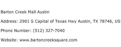 Barton Creek Mall Austin Address Contact Number