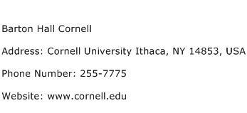 Barton Hall Cornell Address Contact Number