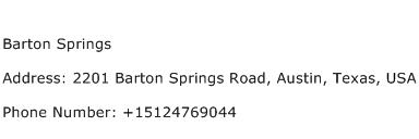Barton Springs Address Contact Number