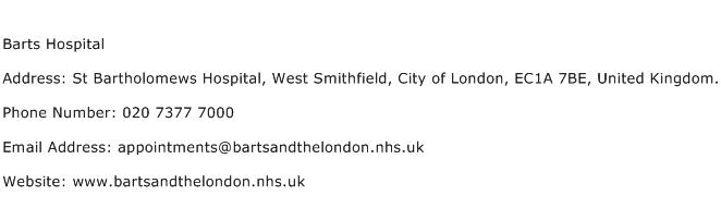 Barts Hospital Address Contact Number