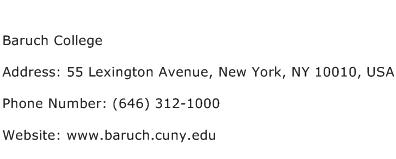 Baruch College Address Contact Number