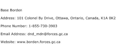 Base Borden Address Contact Number