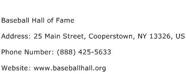 Baseball Hall of Fame Address Contact Number