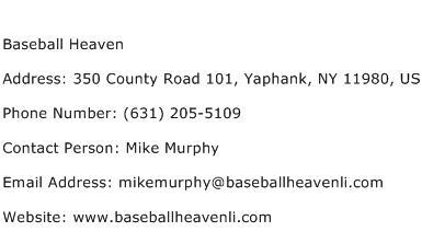 Baseball Heaven Address Contact Number