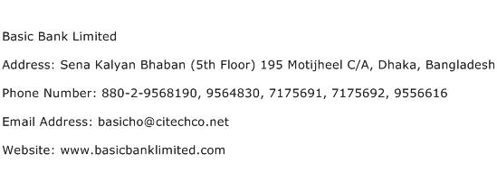 Basic Bank Limited Address Contact Number