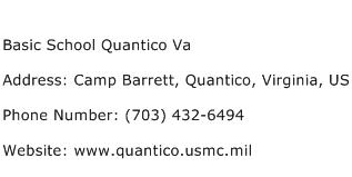 Basic School Quantico Va Address Contact Number