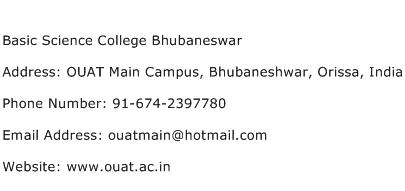Basic Science College Bhubaneswar Address Contact Number