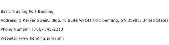 Basic Training Fort Benning Address Contact Number