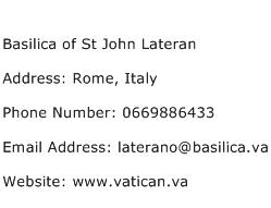 Basilica of St John Lateran Address Contact Number